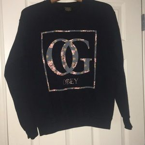 Black Floral OBEY Design Sweatshirt